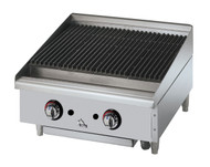 "Star-Max® Charbroiler, gas, countertop, 24"" W, cast iron 40,000 BTU burners with adjustable manual controls every 12"", lava rock briquettes, welded steel frame with stainless steel top and front, aluminized steel sides, cast iron broiling grates, stainless steel water pan, splash guard & grease trough, 4"" legs, 80,000 BTU, cULus, UL EPH (ships Natural Gas includes LP conversion kit)"
