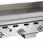 """Heavy Duty Griddle, countertop, gas, 24"""" W x 24"""" D cooking surface, 1"""" thick polished steel griddle plate, embedded mechanical snap action thermostat every 12"""", millivolt pilot safety, manual ignition, low profile, stainless steel front, sides, front grease trough, 4"""" back & tapered side splashes, 4"""" adjustable legs, 54,000 BTU, CSA, NSF"""