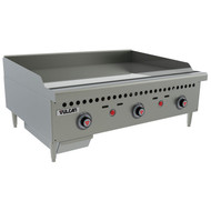 "Griddle, countertop, gas, 36"" W x 20-1/2"" D cooking surface, 1"" thick polished steel griddle plate, (3) burners, fully welded, embedded mechanical snap action thermostat every 12"", millivolt pilot safety, low profile, 4-1/2"" grease can capacity, (1) drawer, stainless steel front, sides & front top ledge, 4"" adjustable legs, 75,000 BTU, CSA, NSF"