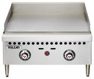 "Griddle, countertop, gas, 24"" W x 20-1/2"" D cooking surface, 1"" thick polished steel griddle plate, (2) burners, fully welded, embedded mechanical snap action thermostat every 12"", millivolt pilot safety, low profile, 4-1/2"" grease can capacity, (1) drawer, stainless steel front, sides & front top ledge, 4"" adjustable legs, 50,000 BTU, CSA, NSF"