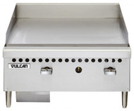 "Griddle, countertop, gas, 24"" W x 20-1/2"" D cooking surface, 1"" thick polished steel griddle plate, (2) burners, fully welded, manual control valve every 12"", low profile, 4-1/2"" grease can capacity, (1) drawer, stainless steel front, sides & front top ledge, 4"" adjustable legs, 50,000 BTU, CSA, NSF"