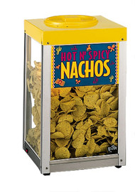"Nacho/Chip/Popcorn Merchandiser, 15""Lx15""Dx26""H, approximately 10 lb. capacity, top loading with rear dispensing door, heated interior with display light, aluminum/stainless steel frame, tempered glass panels, includes: nachos & popcorn signs,155 watts, NSF, UL, CSA"