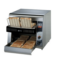 "(QUICK-SHIP) Star QCS® Conveyor Toaster, electric, 350 slices/hr., horizontal conveyor, analog speed control, standby switch, top & bottom quartz sheathed heater elements, 1-1/2"" opening x 10"" W belt (2 slices) with loading rack, stainless steel construction with smooth cool touch exterior, cULus, UL EPH"