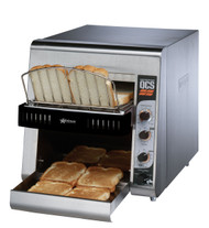 "Star QCS® Conveyor Toaster, electric, 500 slices/hr., horizontal conveyor, analog speed, standby switch, independent controls for top & bottom quartz sheathed heater elements, 1-1/2"" opening x 10"" W belt (2 slice) with loading rack, stainless steel construction with smooth cool touch exterior, cULus, UL EPH"