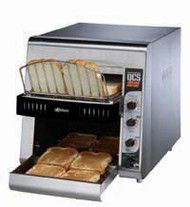 "Star QCS® Conveyor Toaster, electric, 800 slices/hr., horizontal conveyor, analog speed, standby switch, independent controls for top & bottom quartz sheathed heater elements, 1-1/2"" opening x 10"" W belt (2 slice) with loading rack, stainless steel construction with smooth cool touch exterior, cULus, UL EPH"