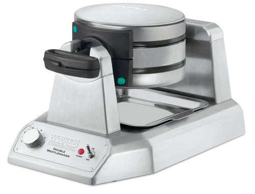 """Belgian Waffle Maker, double, up to (50) 7"""" diameter, 1"""" thick waffles per hour, audio beep signal, vertical design & rotary feature, power & ready-to-bake LED indicators, embedded heating element, non-stick plates, heavy duty die cast housing, 120v/60/1-ph, 1400W"""