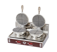 Waffle Baker, dual round waffle grid, cast aluminum grids, user-adjustable digital time/temp controls, audible alarm, stainless steel construction, cULus