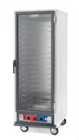 "C5™ 1 Series Heated Holding & Proofing Cabinet, mobile, full height, non-insulated, clear polycarbonate door, removable bottom mount control module, thermostat to 190°F, fixed wire slides on 3"" centers (18) 18"" x 26"" or (34) 12"" x 20"" x 2-1/2"" pan capacity, 5"" casters (2 with brakes), aluminum, 120v/60/1-ph, 2000 watts, 16.7 amps, NEMA 5-20P, cULus, NSF"