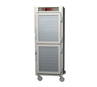 "C5™ 6 Series Heated Holding Cabinet, mobile, full height, insulated, Dutch double pane tempered glass doors, solid doors, top mount controls & analog thermometer, ducted heating system, thermostat 70° to 200°F temp, lip load (34) 18"" x 26"" pan capacity, 1-1/2"" OC, 5"" casters (2 with brakes), aluminum, 120v/60/1-ph, 1440 watts, 12 amps, NEMA 5-15P, UL, CUL, NSF"