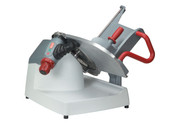 "Premium Food Slicer, manual operation only, 13"" diameter stainless steel knife, 45° gravity feed, adjustable slice thickness up to 1-5/16"", ergonomic controls and index knob location, removable sharpener, permanent knife ring guard, sealed pushbutton controls, anodized aluminum gauge plate and knife cover, one piece polymer base and product table (NSF approved) for reduced seams and easy cleaning, includes kickstand, product capacity up to 8½"" round, 7½"" square, or 10½"" x 6¾"" rectangular, includes no-volt release, 1/2 HP, 120v/60/1-ph, 8.0 amps, 6' power cord with NEMA 5-15P,  cETLus, ETL-Sanitation (US/EXP configuration)"