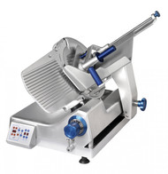 "Premium™ Series Slicer, 12 automatic settings, gravity feed, 13"" diameter knife, variable slice thickness 0"" - 0.875"" (0.22mm), 35-64 strokes per minute, belt driven, remote sharpener mounts in seconds, carriage tilts back for easy cleaning, lift device and zero blade exposure during cleaning, 1680 RPM, .37kW, 1/2 HP motor, anodized aluminum construction, ETL, NSF"