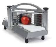 "Easy Tomato Slicer™, manual, 7-1/4""W x 15-1/4""D x 8-1/4""H closed dimensions, 1/4"" slice, stainless steel blades, self-lubricating track, vertical handle, protective guards, polyethylene slide board, cast aluminum & steel construction, rubber feet, NSF"