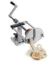 Spiral Fry™ Ribbon Fry Kutter, manual, mounts securely on any flat surface for left or right handed operation, preset drive depth protects contact of potato holder with cutting blade, easy-action screw drive automatically releases at end of stroke to retract for fast reloading, cast aluminum & stainless steel, NSF, Made in USA