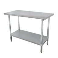 "Work Table, 60""W x 24""D, 16 gauge 430 stainless steel top, 18 gauge galvanized adjustable undershelf, galvanized legs with adjustable plastic bullet feet, NSF"