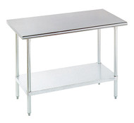 "Work Table, 48""W x 30""D, 16 gauge 430 stainless steel top, 18 gauge galvanized adjustable undershelf, galvanized legs with adjustable plastic bullet feet, NSF"