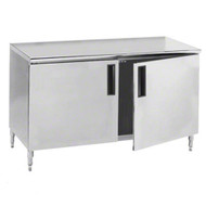 "Work Table, 60""W x 24""D, cabinet base with hinged doors, 14 gauge 304 stainless steel top, stainless steel legs with adjustable hex feet, NSF"