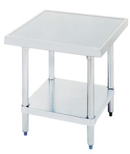 "Budget Equipment Stand, 24""W x 24""D x 24""H, 430 stainless steel top, galvanized adjustable undershelf, galvanized legs with adjustable plastic bullet feet, NSF"