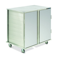 "Value-Line Tray Delivery Cart, low profile, double compartment, enclosed style, non pass thru, (20) 14"" x 18"", 15"" x 20"", or Dinex room service trays (DXRST152003), fixed tray slides with 5-1/4"" spacing, two trays per slide, pull type door with drop latch, (4) 5"" casters, 2 swivel with brakes, 2 fixed without brakes, stainless steel construction, NSF (ICT/202D)"