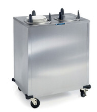 """Dish Dispenser, non-heated, cabinet style, enclosed base, mobile, (2) self-leveling dish dispensing tubes, Easy-Glide™ design, maximum dish size 6-1/2"""" diameter, stainless steel construction, 4"""" Lake-Glide® swivel casters (2) with brakes, corner bumpers, NSF"""