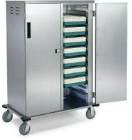 """Elite Series™ Tray Truck, enclosed, double compartment, non-insulated, capacity (20) 14""""x18"""" or 15""""x20"""" trays, 5-1/4"""" ledge spacing, vented side panels, base corner bumpers, (4) 6"""" casters  (2 swivel, (2) fixed), stainless steel construction, NSF"""