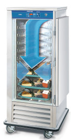 "Air Curtain Refrigerator, mobile, bottom mount self contained refrigeration, (20) 14"" x 18"" or (10) 18"" x 26"" tray capacity, 4-1/2"" OC, removable fixed slides, adjustable thermostat, maintains temperature for up to 1-1/2 hours with door open, digital display, (1) hinged door, full perimeter bumper, stainless steel construction, 6"" casters, (2) rigid, (2) swivel with brake, 1/2 HP, UL, cUL, NSF"