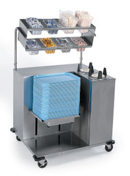 "Tray Starter Station, mobile, tray dispenser, (2) plate dispensers, stainless steel cutouts in overshelves hold 1/4 size food pans (not included), storage shelves built-in back, stainless steel construction, 5"" swivel casters (2) with brakes, NSF"