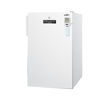 Medical Compact Refrigerator, single-section, freestanding, 4.1 cu. ft. capacity, flat door liner, front-mounted lock, adjustable wire shelves & thermostat, automatic defrost, external read out thermometer, white cabinet & door finish, hospital grade cord, 115v/60/1, UL (Medical)
