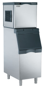 "Scotsman Prodigy modular cube ice maker. 365 lb. ice/per 24 hours. 22""w.x 24""d x 23""h. Shown with optional bin."