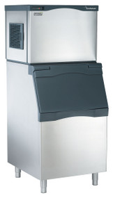 "Scotsman Prodigy Plus ice maker. 356 lb ice/per 24 hours. 30""w x 24""d x 23""h. Air cooled. Medium cube. Shown with optional bin."