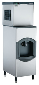 """Scotsman Prodigy Modular Cube Ice maker, 475 lb ice per 24 hour. 22""""w x 24""""d x 23""""h. Air cooled. Medium cube. Shown with optional bin."""