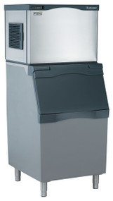 """Prodigy™ Plus Ice Maker, Cube Style, air-cooled, self-contained condenser, up to 525-lb production/24 hours, stainless steel finish, medium cube size, 115v/60/1-ph, 15.2 amps, ENERGY STAR®30""""w x 24""""d x 23""""h. Air cooled. Medium cube. Shown with optional bin."""