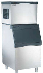 """Prodigy® Modular Cube Ice Maker 600 lb. SCOTSMAN C0630SA-32. 600 lb ice production/24 hours. 30""""w x 24""""d x 23""""h. Air cooled. Small cube. Shown with optional bin."""