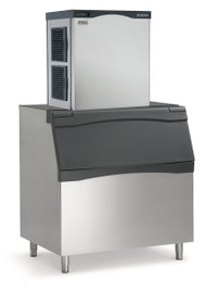 Prodigy™ Plus Ice Maker, Cube Style, air-cooled, self-contained condenser, up to 1077-lb production/24 hours, stainless steel finish, small cube size, 208-230v/60/1-ph, 16.0 amps. Shown with optional bin.