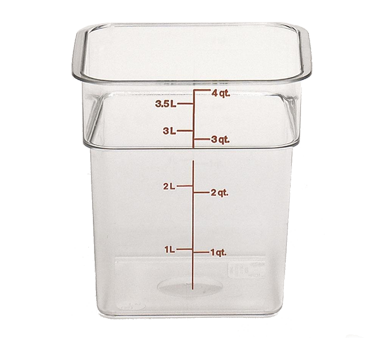"CamSquare® Food Container, 4 qt., 7-1/4""L x 7-1/4""W x 7-3/8""H, red graduation, polycarbonate, dishwasher safe, resists stains & odors, clear, NSF"