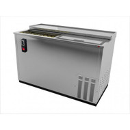 """Bottle Cooler, flat top, 50-1/2"""" wide, deep well horizontal, (26 cs) 12 oz. can/(19 cs) 12 oz. bottle capacity, (2) lids, (3) epoxy coated adjustable bin dividers, locks per lid, analog thermostat, fluorescent interior light, removable bottle opener, cap catcher, stainless steel front, sides and top, galvanized back and interior, s/s floor, side mounted self-contained refrigeration, 1/4 hp, cETL, UL, NSF, Made in North America"""
