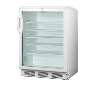 Refrigerated Merchandiser, reach-in, single-section, freestanding, 5.5 cu. ft. capacity, reversible door swing, automatic defrost, adjustable glass shelves, interior light & liner, adjustable thermostat, white cabinet finish, double pane tempered glass door, freestanding, self-contained, 115v/60/1, cord & plug, UL, ETL-S to NSF 7 (Commercial)