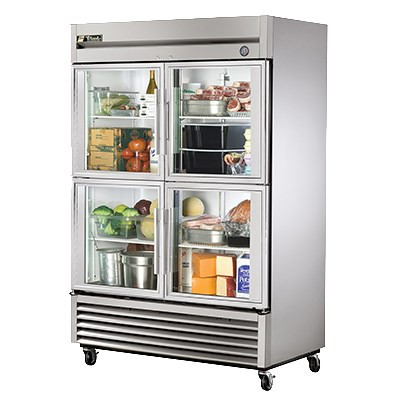 """Refrigerator, Reach-in, two-section, (4) glass half doors, stainless steel front, aluminum sides, aluminum interior with stainless steel floor, (6) adjustable PVC-coated wire shelves, fluorescent interior lighting, 4"""" castors, 1/3 HP, 115v/60/1, 5.8 amps, 9' cord, NEMA 5-15P, cULus, NSF, CE, MADE IN USA. CALL FOR YOUR PRICE."""