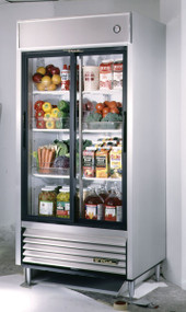 "CALL FOR PRICING. Refrigerator, Reach-in, (2) glass sliding doors, stainless steel front, aluminum sides, white aluminum interior with stainless steel floor, (6) white shelves, LED interior lighting, 6"" legs, R290 Hydrocarbon refrigerant, 1/2 HP, 115v/60/1, 6.5 amps, NEMA 5-15P, cULus, UL EPH Classified, MADE IN USA"