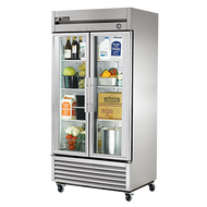 """CALL FOR PRICING. Refrigerator, Reach-in, two-section, framed glass door version 01, (2) glass doors, stainless steel front, aluminum sides, clear coated aluminum interior with stainless steel floor, (6) adjustable PVC-coated wire shelves, LED interior lighting, 4"""" castors, R290 Hydrocarbon refrigerant, 1/3 HP, 115v/60/1, 5.6 amps, NEMA 5-15P, cULus, UL EPH Classified, MADE IN USA"""