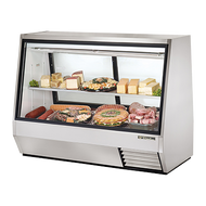 CALL FOR PRICE. Double Duty Deli Case, see-thru, Low-E glass front & (2) rear doors, white aluminum interior with coved stainless steel floor, stainless steel front, sides and back with white laminated rear panel, (1) full length stainless steel shelf, (3) PVC coated wire shelves, exclusive front & rear interior lighting, refrigerated lower compartment for bulk storage, 1/2 HP, 115v/60/1, 14.0 amps, NEMA 5-20P, UL, UL EPH Classified, MADE IN USA
