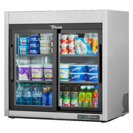 Countertop Refrigerated Merchandiser, (2) glass sliding doors, stainless steel front and sides, white aluminum interior with stainless steel floor, (3) white shelves, LED interior lighting, leg levelers, R290 Hydrocarbon refrigerant, 1/6 HP, 115/60/1, 1.9 amps, NEMA 5-15P, cULus, UL EPH Classified, CE, MADE IN USA