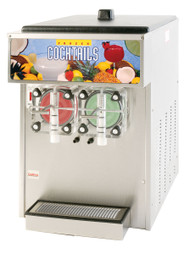"Crathco® 3000 Series Frozen Beverage Dispenser, non-carbonated cylinder type, double flavor, countertop, air-cooled, self-contained refrigeration, 5 to 7 gallon production per hour, (2) 3.75 gallon capacity cylinders (1.5 gallon frozen, 2.25 gallon storage), manual fill, mechanical control, FlavorLight™ illuminated merchandiser, includes ""mix low"" light, stainless steel construction, 3/4 HP compressor, (2) 1/4 HP drive motors, cULus, NSF (Cecilware)"