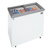 Ice Cream Display Freezer, 7 cubic feet capacity, sealed cabinet interior, white exterior, sliding glass lid with lock, control capable of +10° F, defrost drain, self-contained refrigeration system, NSF certified thermometer, heavy-duty wire storage basket, heavy-duty casters, 120v/60/1-ph, 0.3 kw, R600a, 1/6 hp, NEMA 5-15P, NSF
