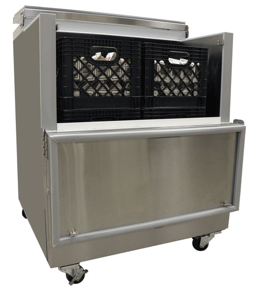 "Open Front Milk Cooler, 35-3/4"" W, drop front, 8 case capacity, (2) heavy duty floor racks, NSF-listed floor drain and thermometer, fold back locking doors, stainless steel exterior and interior, four corner bumpers, (4) swivel casters (2 locking), 1/5 HP, 115v/60/1-ph, 1.5 amps, cord, NEMA 5-15P, UL, cUL, UL-Sanitation"