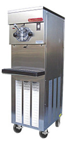 Shake Freezer, floor model, air or water cooled, self-contained refrigeration, 1 head, 20 qt. mix capacity, welded steel frame, stainless steel exterior, electronic consistency control, visual mix out system, 1/2 HP dasher, 2 HP compressor, casters included, UL, NSF & cUL