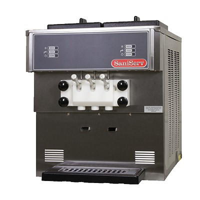 Soft Serve/Yogurt Twist Freezer, counter model, air or water cooled, self-contained refrigeration, 2 heads, 11 qt. mix capacity (per side), welded steel frame, stainless steel exterior, electronic consistency control, automatic audible/visual mix out system, day/night switch, (2) 1 HP dasher, (1) 2 HP compressor, UL, cUL, NSF