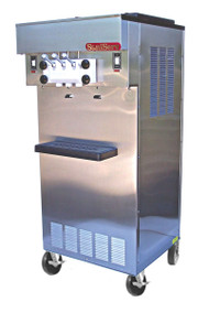 Soft Serve/Yogurt Twist Freezer, floor model, air or water cooled, self-contained refrigeration, 2 heads, 17 qt. mix capacity (per side), welded steel frame, stainless steel exterior, electronic consistency control, automatic audible/visual mix out, day/night switch, (2) 1 HP dasher, (2) 2 HP compressor, casters included, UL, cUL, NSF