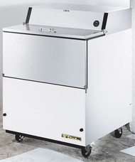 "Mobile Milk Cooler, FORCED-AIR, (8) crates, stainless steel door drop front/hold-open flip-up lids, lock, 33-38°F, white vinyl exterior, aluminum interior with stainless steel floor, (2) heavy duty floor racks, digital therm., R290 Hydrocarbon refrigerant, 4"" castors, 1/5 HP, 115v/60/1, 2.7 amps, NEMA 5-15P, cULus, UL EPH Classified, MADE IN USA"
