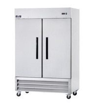 "Refrigerator, reach-in, two-section, 49.0 cu. ft. capacity, 54""W x 32.75""D x 82.75""H, bottom mounted self-contained refrigeration, electronic thermostat with digital LED display, (2) solid hinged self-closing doors with locks (field reversible), (6) adjustable wire shelves, stainless steel exterior, white aluminum interior liner with stainless steel floor, (4) casters (2 locking), 1/2 HP, 115v/60/1-ph, 7.0 amps, cord, NEMA 5-15P, cULus, UL EPH Classified, cETLus, ETL-Sanitation, ENERGY STAR®"