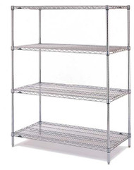 "Super Erecta® Convenience Pak Shelving Unit, 48""W x 24""D x 74""H, (4) wire shelves with clips & (4) split posts with adjustable feet, chrome plated finish, KD, NSF"